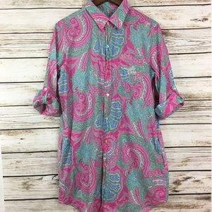 Ralph Lauren button up shirt dress paisley print
